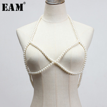 [EAM] Women Loose Fit Pearl Cross Split Joint Temperament Vest New V-collar Sleeveless Fashion Tide Spring Autumn 2021 1Y010 1