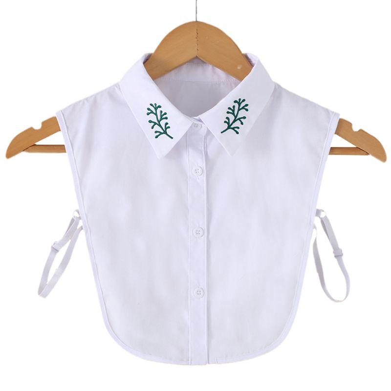 Women Green Grass Leaf Embroidery Lapel Detachable Half Shirt Button Fake Collar AXYD