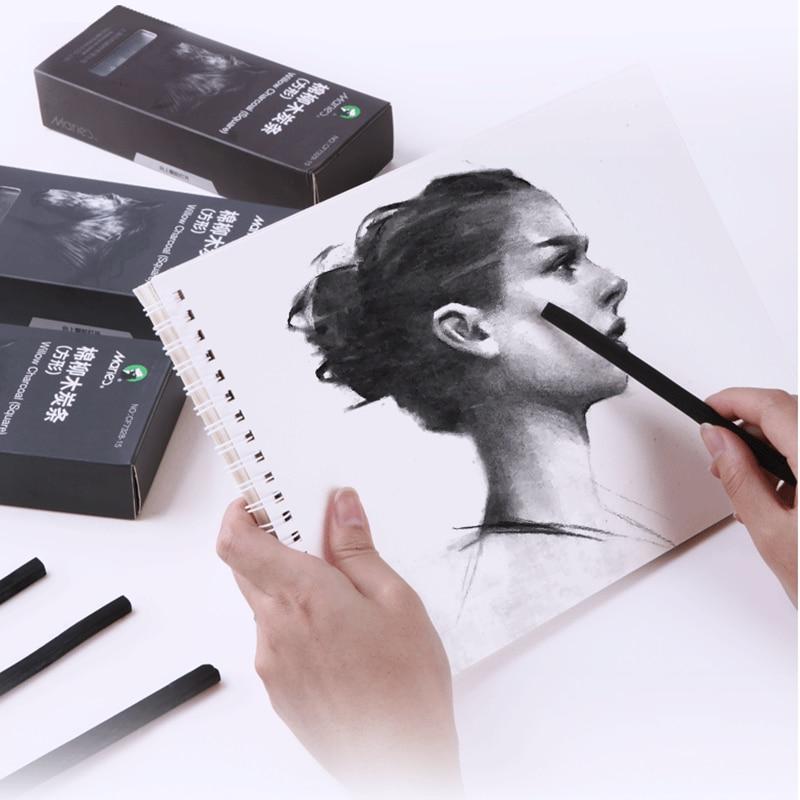 15pcs/box Soft Charcoal Sketch Carbon Pen Carbon Strip Carbon Rod Sketch Painting Charcoal Rod for Art Supplies
