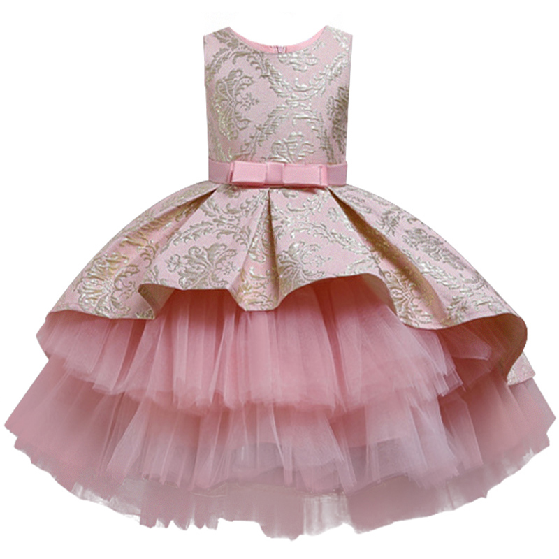 2020 Girl High-end Palace Tail Princess Dress Child Flowers Elegant Flower Girl Wedding Dress Baby Birthday Party Kids Clothes