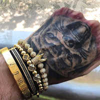 Mcllroy 4 teile/satz Gold Armband Männer Crown Pflastern CZ Zirkon Edelstahl Perlen Geflochten Flechten Armband Luxus Schmuck Dropship