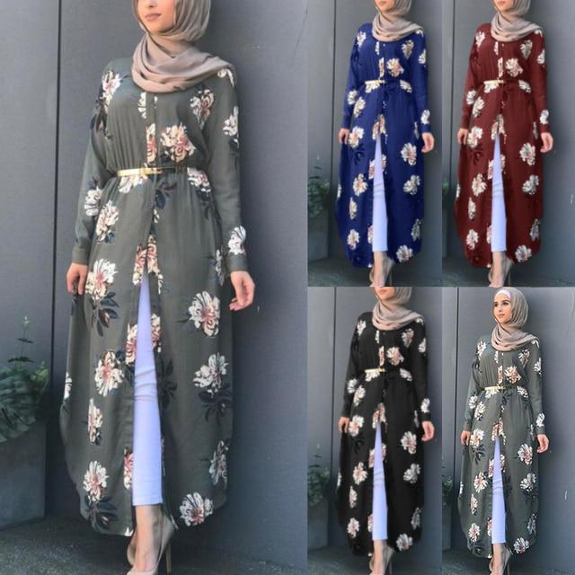 Kalenmos Dubai Arab Muslim Abaya Dress Women New Robes Print Floral Slim Long Sleeve Islamic Eid Casual Long Dress Plus Size 5xl