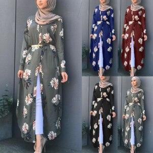 Image 1 - Kalenmos Dubai Arabischen Muslimischen Abaya Kleid Frauen Neue Roben Print Floral Schlank Langarm Islamische Eid Beiläufige Lange Kleid Plus größe 5xl