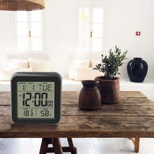 digital desktop alarm clock with thermometer and hygrometer calendar snooze for kids electronic bedside table wake up clock