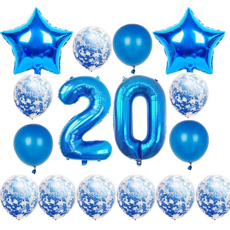16 шт./компл. для взрослых с днем рождения воздушные шары 10 20 30 50th синий День рождения конфетти для воздушного шара Globos юбилейные праздничные ...