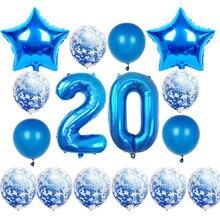 16 Pçs/set Adulto Feliz Aniversário Balões 10 20 30 50th Azul Globos Confetti Balão da Festa de Aniversário Decorações da Festa de Aniversário