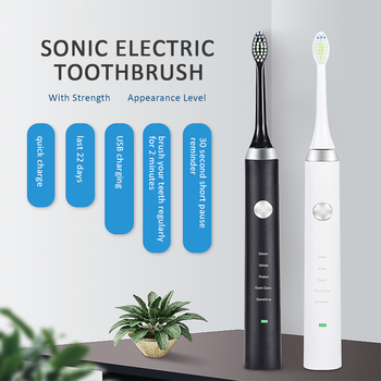 CANDOUR CD-51618 sonic electric toothbrush with 8 brush heads rechargeable USB charging adult sonic toothbrush  waterproof IPX7 couple toothbrush usb sonic electric toothbrush ultra sonic toothbrush rechargeable charging with 4 heads pink blue black color