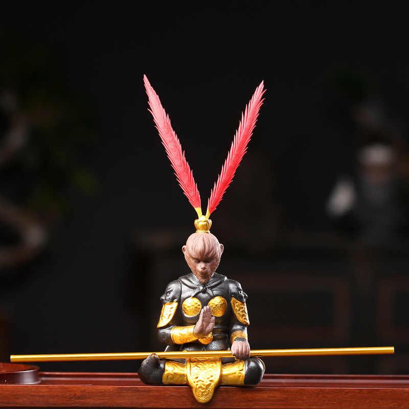 Argila roxa macaco rei chá animal de estimação chinês kungfu chá conjunto cerimônia buda estátua sorte feng shui ornamentos de mesa decoração do carro