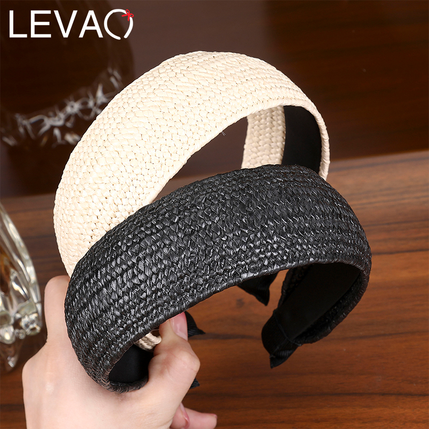 Levao 2019 Straw Weaving Headband For Women Wide Hair Hoop Simple Solid Elegant  Party Stylish Head Band Girls Hair Accessories