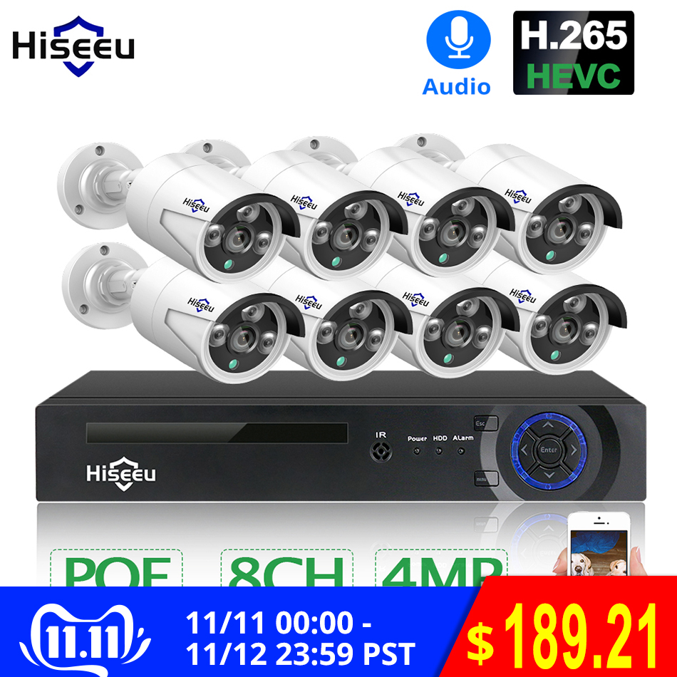 Hiseeu H.265 8CH 4MP POE Security Camera System Kit Audio Record IP Camera IR Outdoor Waterproof CCTV Video Surveillance NVR Set-in Surveillance System from Security & Protection