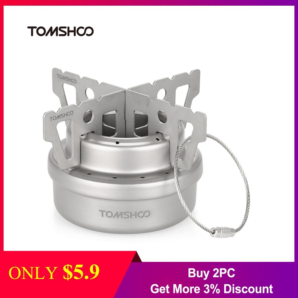 TOMSHOO Outdoor Titanium Alcohol Stove & Rack Combo Set Mini Ultralight Portable Liquid Alcohol Stove With Cross Stand Stove