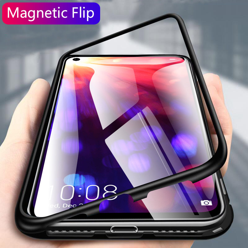 Magnetic Adsorption Metal Phone <font><b>Case</b></font> for <font><b>Huawei</b></font> Y5 Y6 <font><b>Y7</b></font> Prime Y9 <font><b>2019</b></font> Nova 2i 3 3i 3E 4 5i 5 Pro Mate 20 20X P30 P20 Lite Cover image