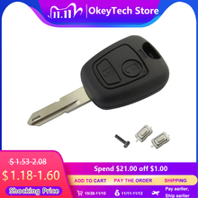 OkeyTech for Peugeot 106 206 306 406 Key Shell 2 Button NE73 Blade Replacement Remote Control Car Cover Case with 2 Micro Switch