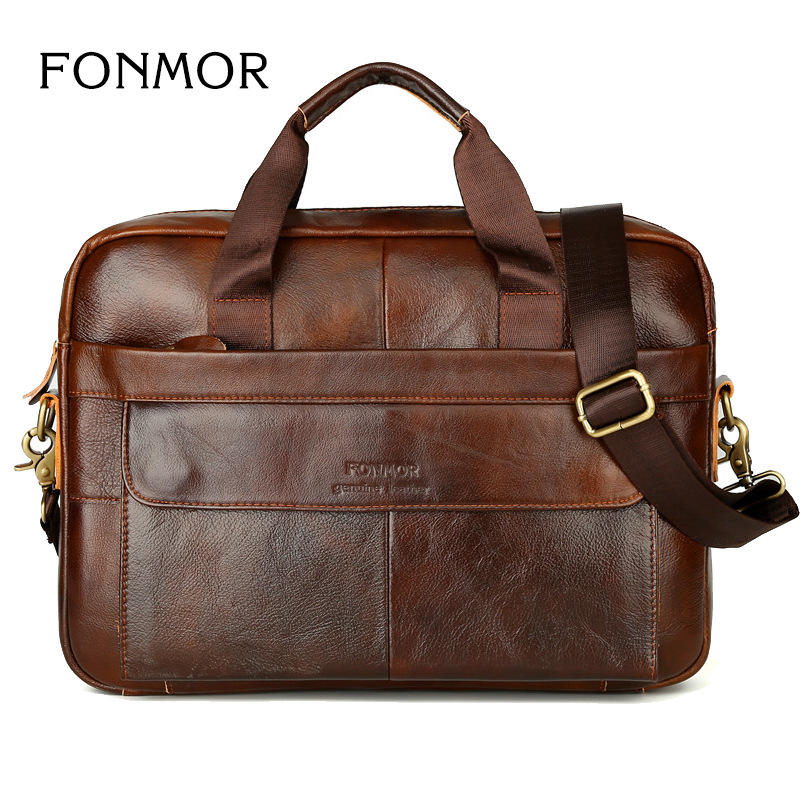 Briefcase Laptop Case Business Men Bag Genuine Leather Handbag Shoulder Large Computer Real Crow Brown Waterproof Work Office