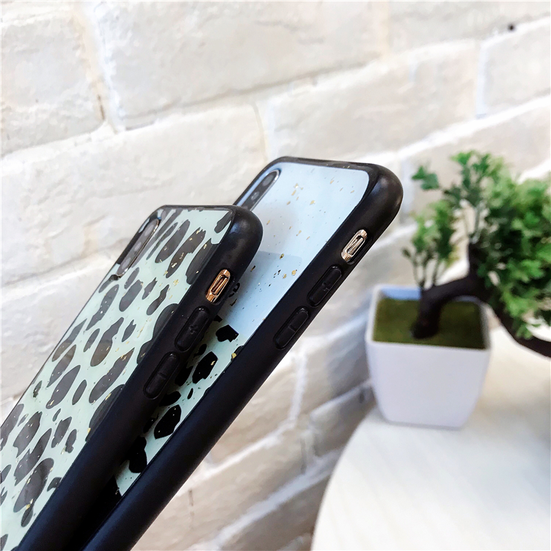 Image 5 - Leopard Luxury Gold Foil Bling Phone Case Cover For Iphone XS Max XR X 8 7 6 6S Plus Luxury Soft Back Cases Fashion Capa Shell