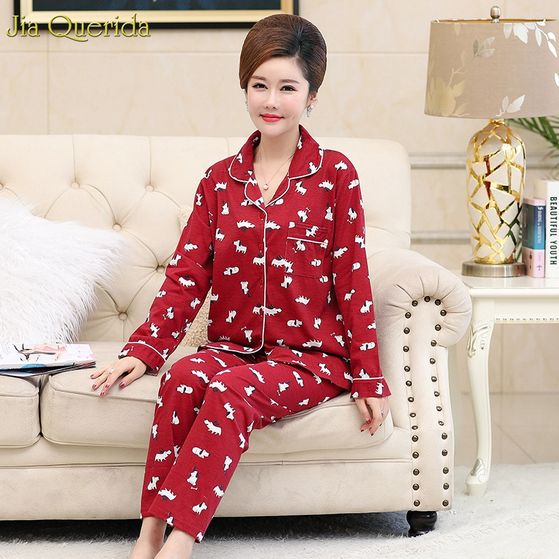 Cotton Sleepwear Long Sleeves Pyjamas Plus Size Red Cartoon Printing Autumn Lapel Cardigan Women   Pajamas     Set   Woman Home Clothes