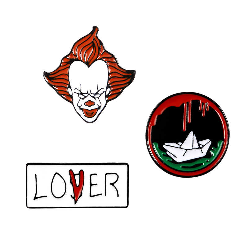 Set pin Stephen King's HET movie emaille pins Halloween clown lover of loser broches revers Jassen tas hoed badges sieraden geschenken