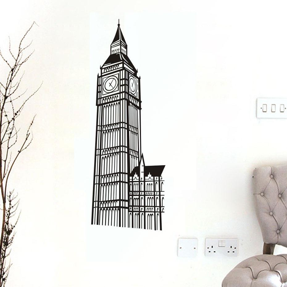 London Landmark Building Big Ben Clock Stickers Decal on the wall For Kids Room Living Room Home Decor Wall Art Vinyls Wallpaper (3)