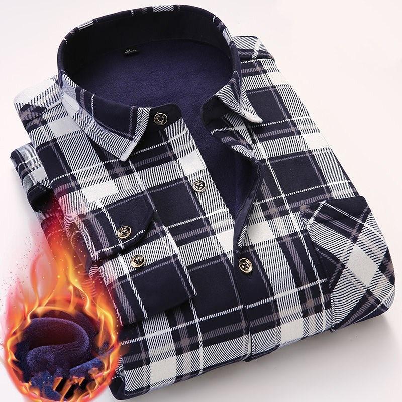 Casual Winter Long Sleeve Dress Shirt For Men Plaid Warm Thick Velvet Fleece Shirts Soft Flannel Camisa Masculina Asian Size 4XL