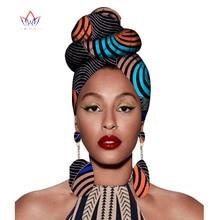 2020 Headtie africano Stampa Headwrap Tessuto della Cera Ankara 100% Puro Cotone Sciarpa Kente Avvolgere Sciarpe E Orecchini 2 Pezzi Wyb56
