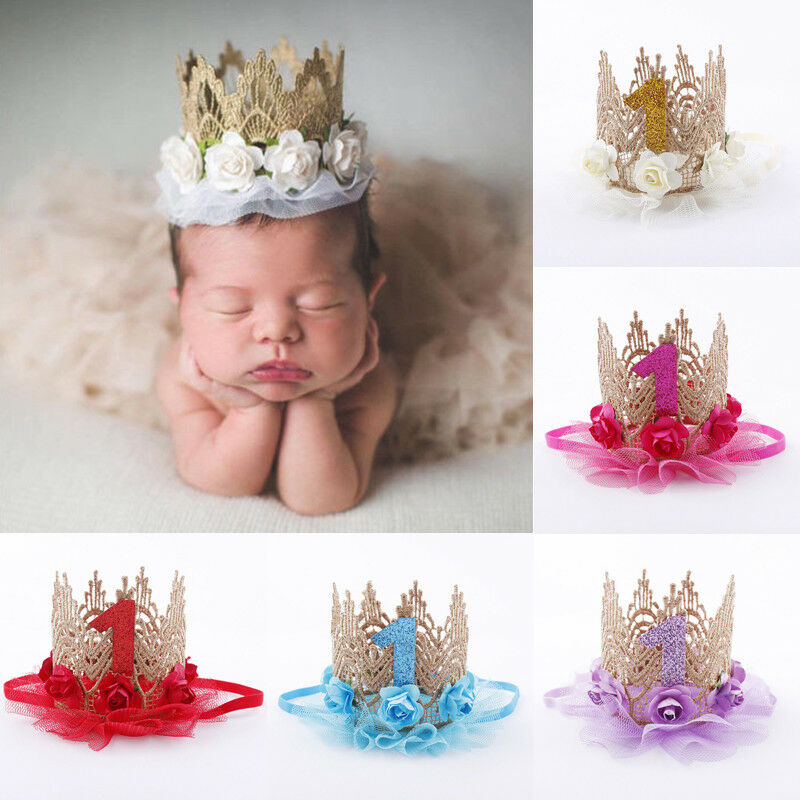 Cute Baby Girl Newborn Infant Princess Baptism Flower Crown Headband HairBow Band Photo Props Headwear