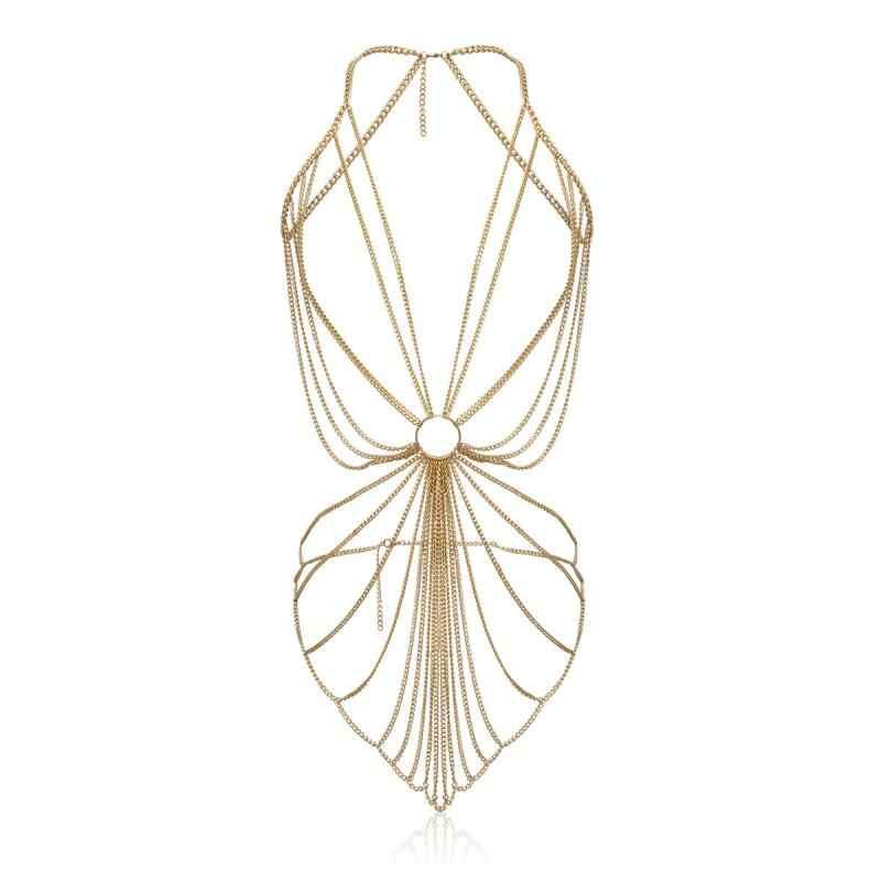אופנה נשים סקסי קיץ חוף טאסל גוף שרשרת מותניים פרינג 'צלב עניבת כתף ביקיני רתם חגורת שרשרת חגורת שרשרת