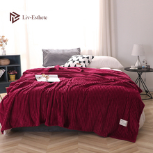 Liv-Esthete Wine Red Blanket Flannel Office Aircraft Bed Sofa Active Printing Throw Portable Travel Cover Sheet
