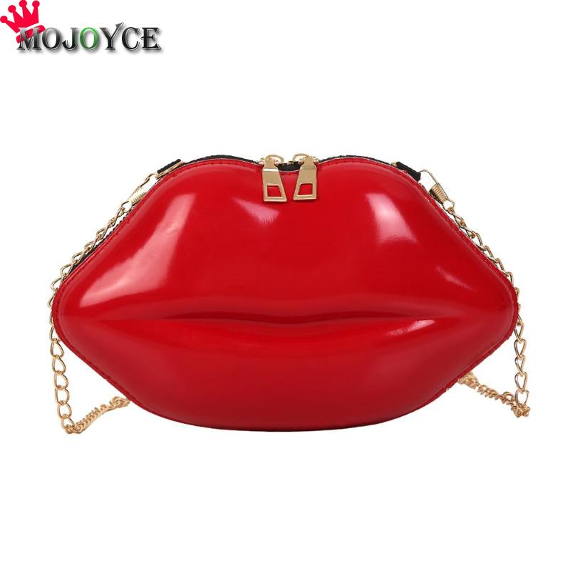 Lips Shape PVC Handbags Solid Zipper Shoulder Bag Crossbody Messenger Phone Coin Bag Evening Party Clutches Bolsas Feminina Saco