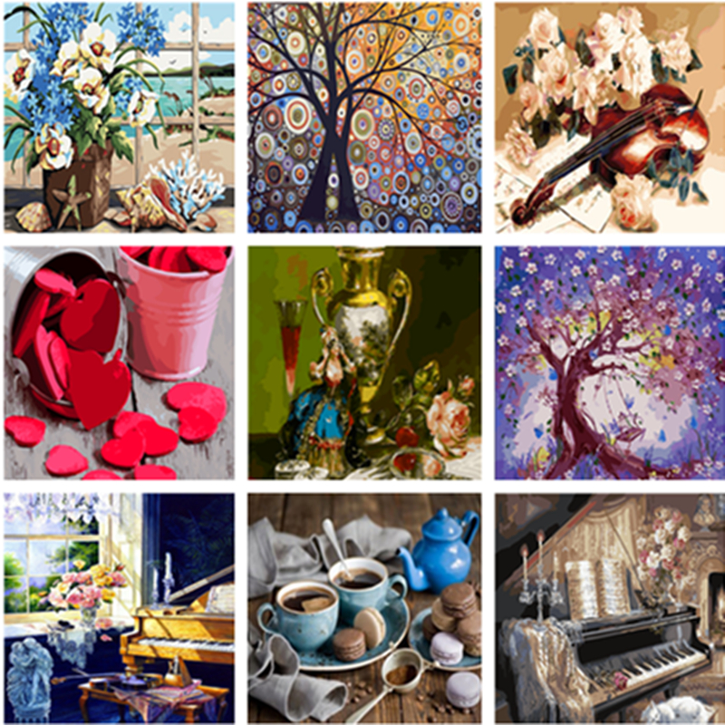Frame DIY Painting By Numbers Kits Still Life Hand Painted Oil Paint By Numbers For Home Decor Art