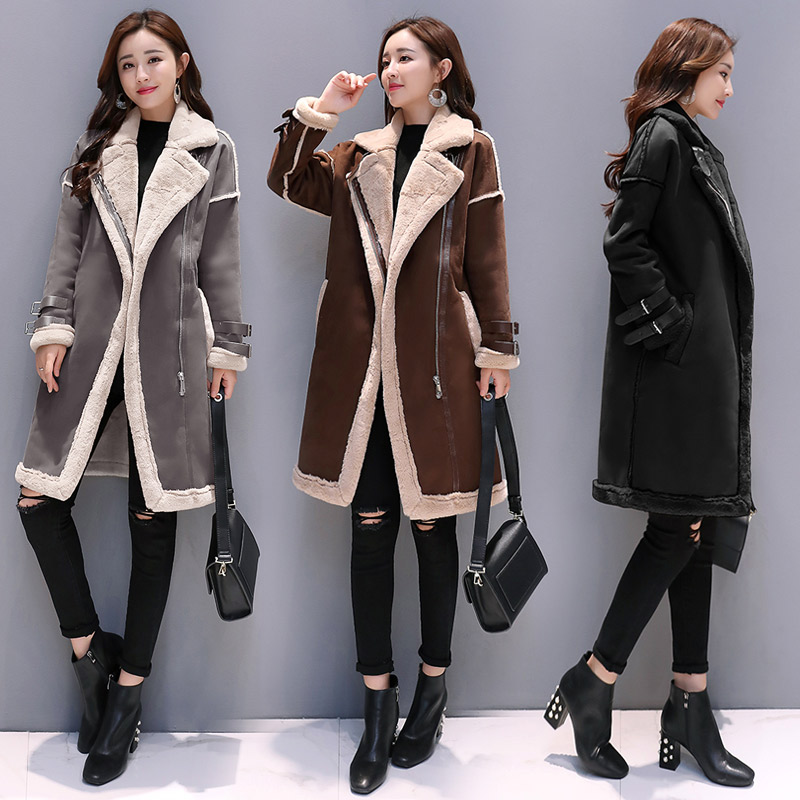 Suede Faux Leather Women Long Coat Lambswool Patchwork Thicken Coats Female 2019 Autumn Winter Warm Office Ladies Outerwear