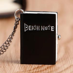 Hot Japanese Death Note Shape Black Suqare Quartz Pocketwatch For Men Children Deathnote Watch Drop Shipping Wholesale