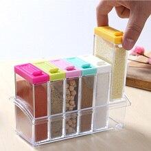 6Pcs/Set Kitchen Spice Jar Seasoning Box Storage Bottle Transparent Salt And Pepper Cumin Powder Tool