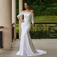 Tanpell Elegant Wedding Dress Off the Shoulder 3/4 Sleeves Lace up Floor Length Long Mermaid Lace Wedding Dress