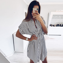 2019 Summer Contrast Striped Dress Women Short Batwing Sleeve Lady Casual Dresses Female Bandage Short Dress robe femme D30 contrast panel batwing sleeve tee