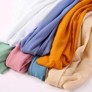 Image 3 - Women Plain Bubble Chiffon Scarf/Scarves Hijabs Muslim Hijabs Turban Headband Cloth Wrap Solid Color Shawls Headband Maxi Shawl