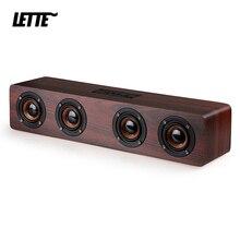 12W Wooden Bluetooth Bass Speaker 4 Horn AUX Input TF Card Playback Wireless Subwoofer Portable Bass Column