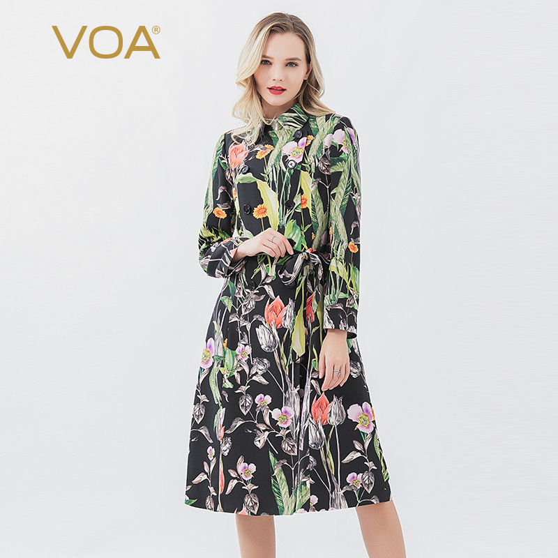 VOA Silk 30mm Print Heavy Womens Tops and Blouses Lapel Double-row Buckle Strap Waist Long Windbreaker F606