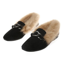 Fashion small size winter womens shoes Plush warm flat black casual Large Boat Loafers Flats 33-43