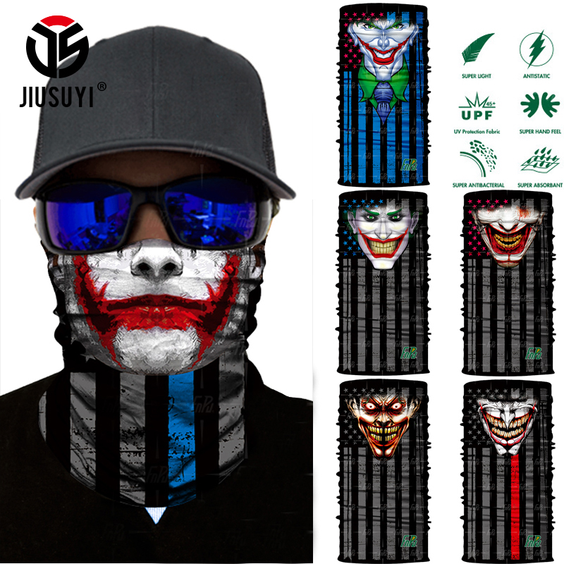 3D Seamless Magic Clown Joker Neck Warmer Gaiter Face Mask Head Scarf Bandana Headband Headwear Halloween Party UV Protection