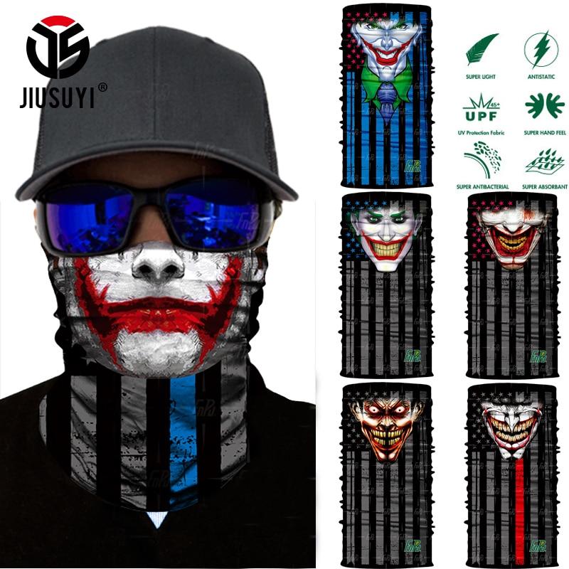 3D Seamless Magic Clown Joker Neck Warmer Gaiter Face Mask Head Scarf Bandana Headband Headwear Halloween Party UV Protection