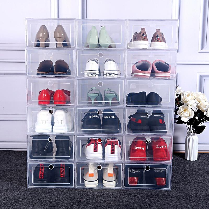 Caja de almacenamiento de zapatos transparente gruesa, organizador de cajón de plástico a prueba de polvo, combinación superpuesta, armario de zapatos deportivos, 3/6 Uds.|Cajas y recipientes de almacenamiento| - AliExpress