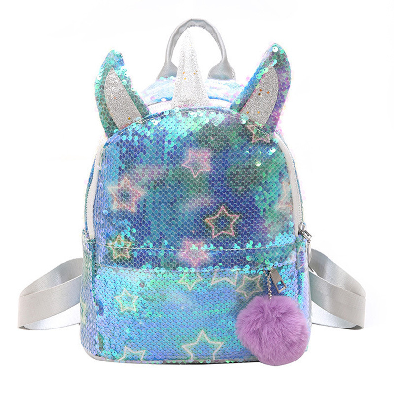 Gold Silver Sequins Unicorn Backpack Cartoon Fashion Glitter School Book Bag Girls Cute Hologram Laser PU Leather Travel Mochila
