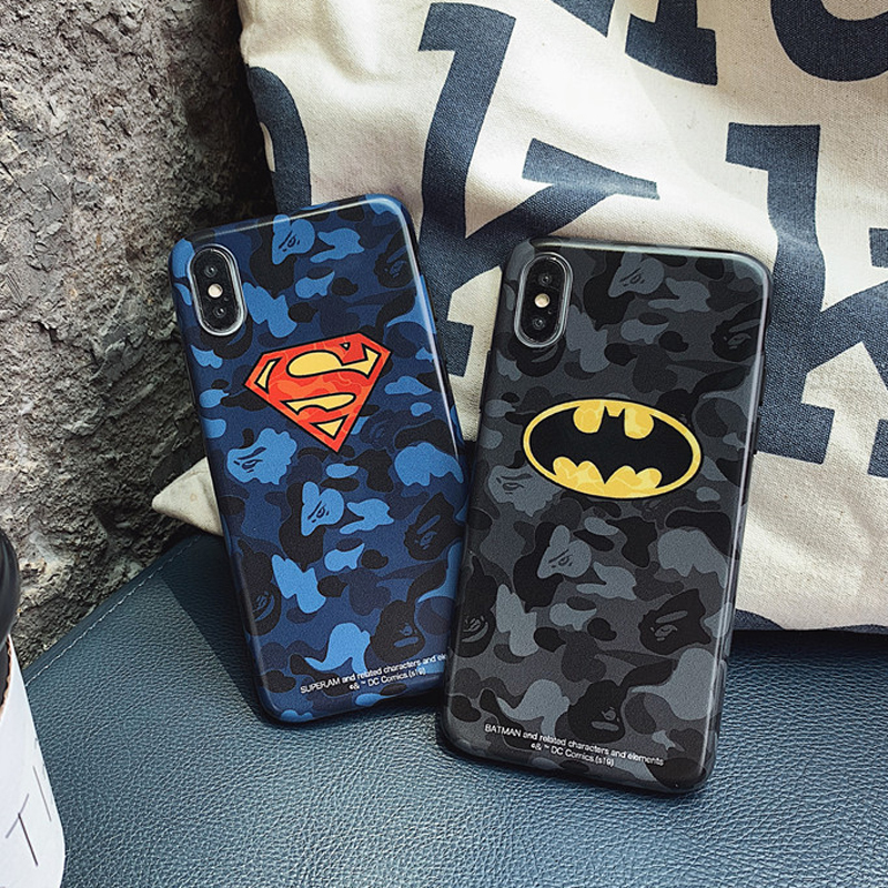 JAMULAR Fashion Superman Batman Phone Case For iPhone X 11 Pro XS MAX XR 7 8 6 6s Plus Camouflage Soft IMD Back Cover Slim Coque image