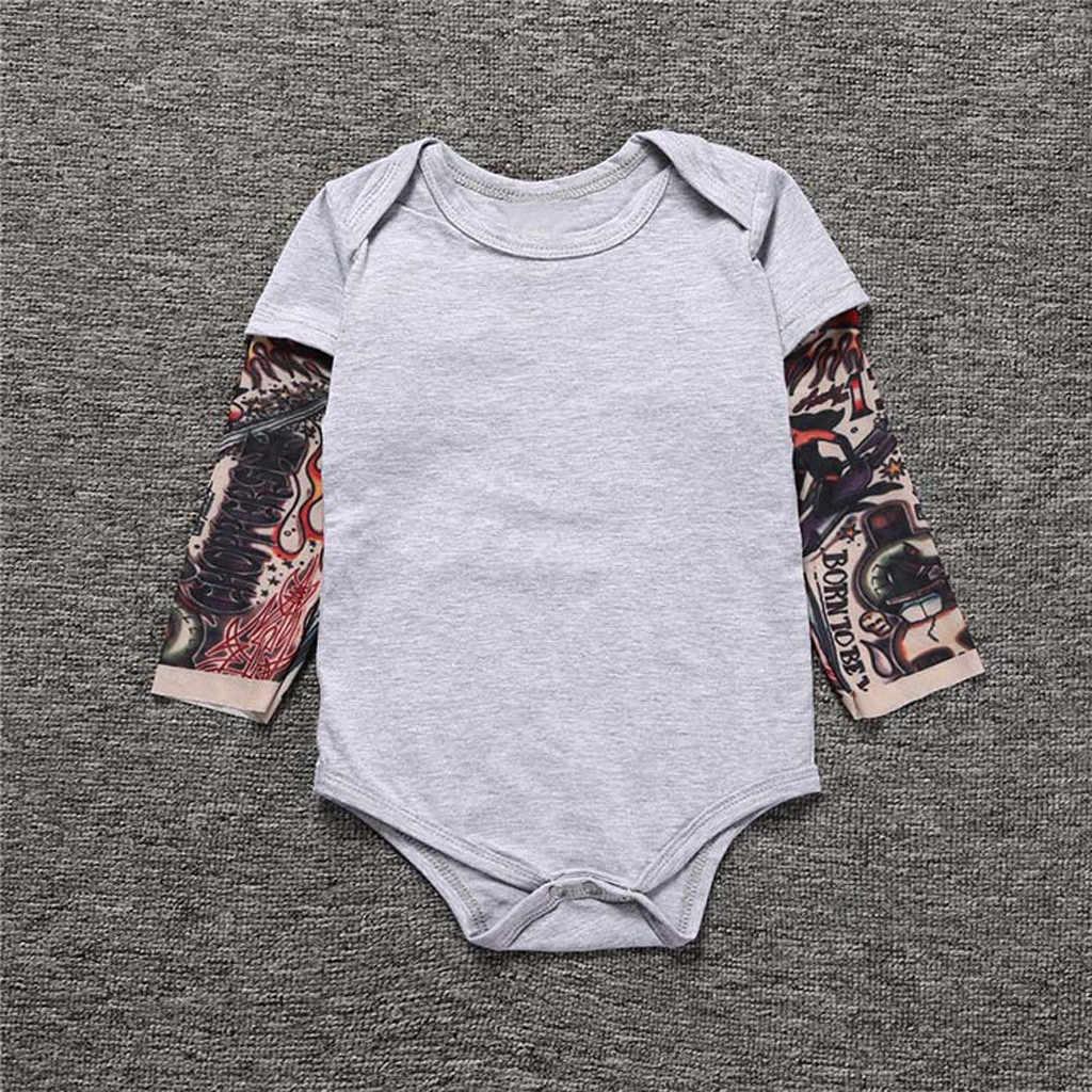 ทารกแรกเกิดเด็กทารก Tattoo ฤดูใบไม้ร่วง Romper Jumpsuit พิมพ์แขนยาว Patchwork เครื่องแต่งกายทารกแรกเกิด Rompers Jumpsuit Outfits