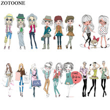 ZOTOONE Iron on Transfers Fashion Sweet Cute Girls Patch for Clothing Applications T-shirt Heat Appliques Stickers E