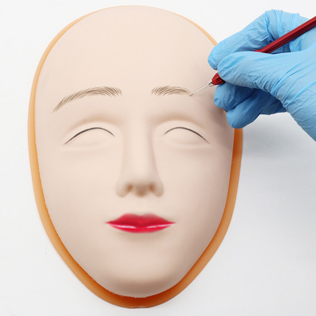 1PC Mannequin Head Face Skin Eyebrow Head Face Skin Tattoo Practice Human 3D Microblading Permanent Tattoo Practice Oct