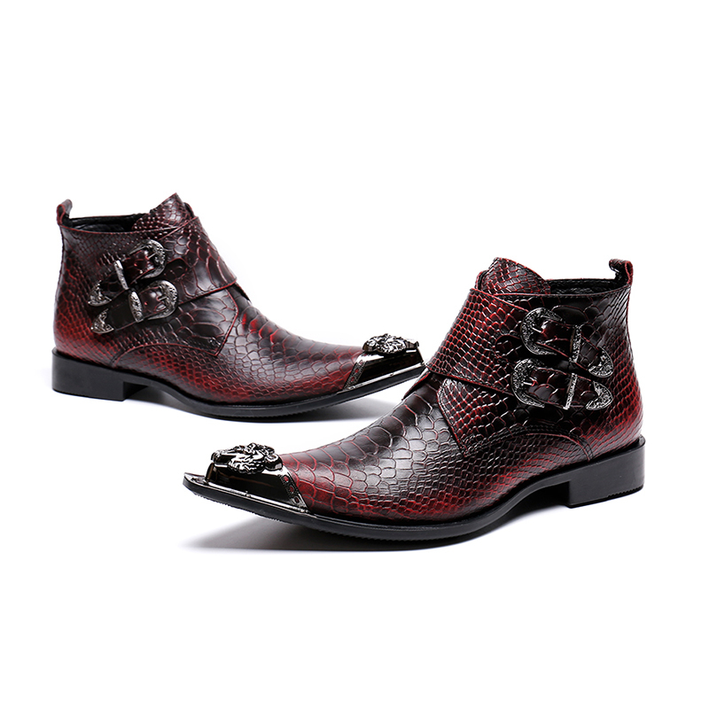 Genuine Leather Double Buckle Zip Ankle Boots Fashion Low Heel Oxford Fish-scale Pattern Rivet Martin Boots