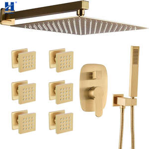 Hongdec Shower-System Brushed Wall-Mounted Brass Gold-Rainfall Square with 12-Body-Jets-Mixer-Set