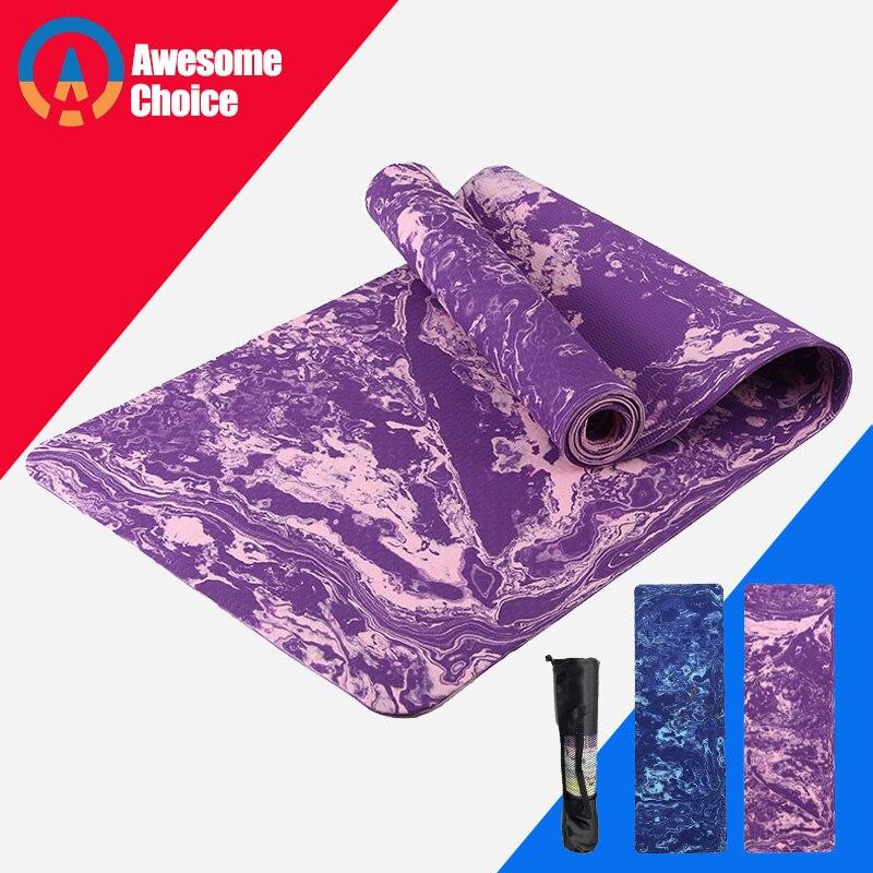 Premium Print 183*61*0.5cm Non Slip Yoga Mat Eco Friendly TPE Exercise High Density Pilates Mat Blanket Rug With Free Bag For