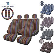 X Autohaux Car Seat Covers Set Baja Saddle Blanket Weave Universal Fit Most Cars Covers with Steering Wheel Cover Protector